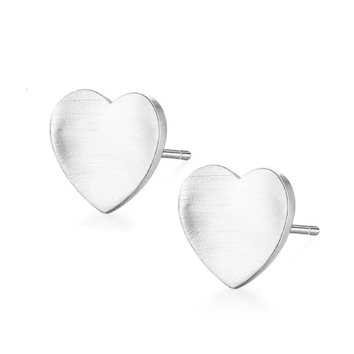 Brinco de Coração Prata 950 Escovado (0)