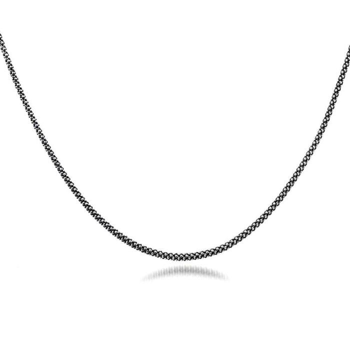 Corrente Pipoca Fina em Prata de Bali 925 Envelhecida 45 cm (0)