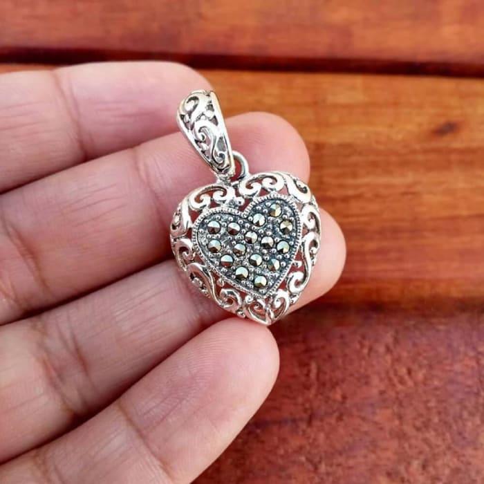 Pingente de Coração com Pedras Marcassitas Prata 925 (0)