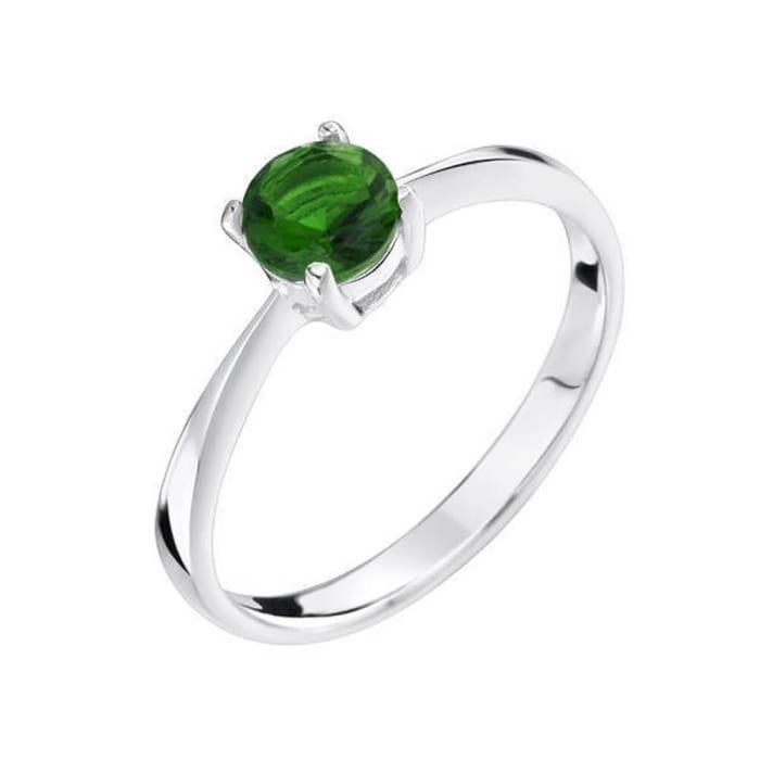 Anel com Pedra Zircônia Verde Esmeralda Prata 950 (0)