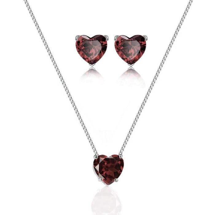 Conjunto Colar e Brinco de Coração com Pedra Zirconia Granada em Prata 925 (0)