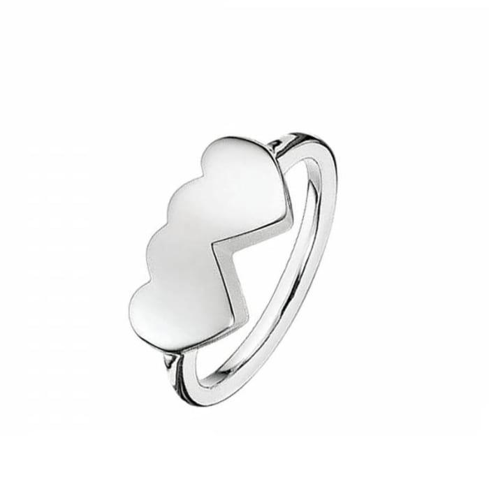 Anel de Prata 950 Coração Duplo (0)
