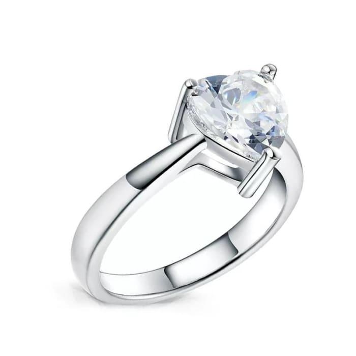 Anel de Coração com Zircônia Cristal em Prata 950 (0)