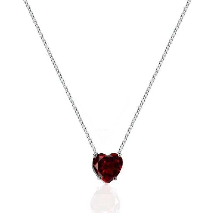 Colar com Pingente de Coração Vermelho em Prata 925 (0)