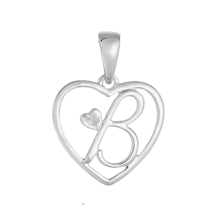 Pingente de Coração com Letra B em Prata 950 (0)