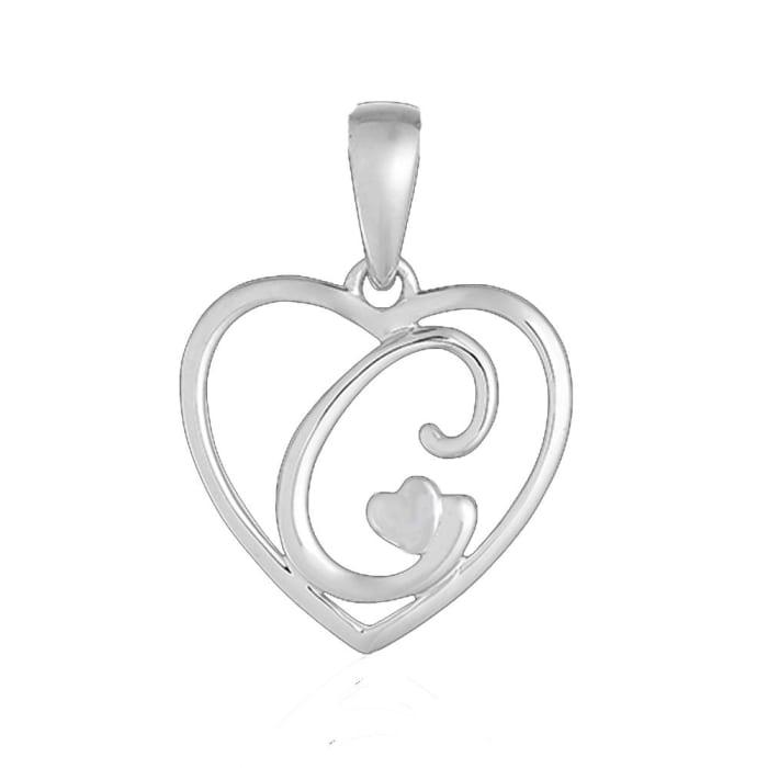 Pingente de Coração com Letra em Prata 950 - C (0)