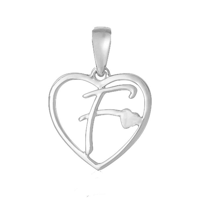 Pingente de Coração com Letra em Prata 950 - F (0)
