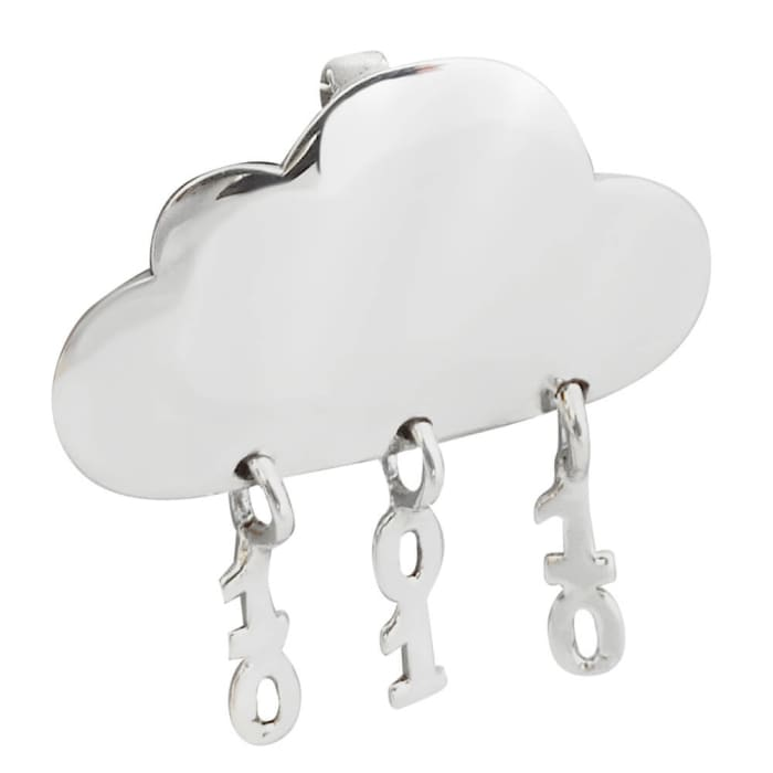 Pingente de Nuvem Chuva Binário em Prata 950 (0)
