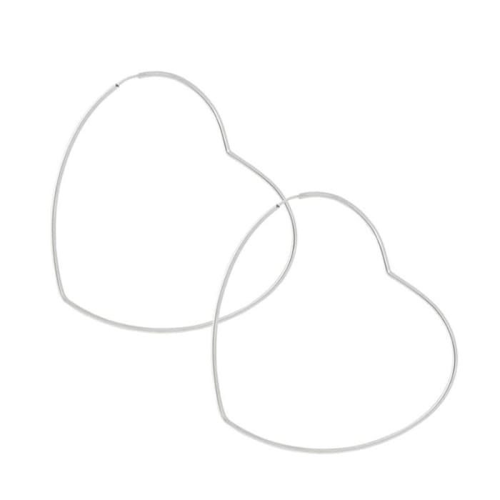Brinco de Argola Coração em Prata 925 (0)