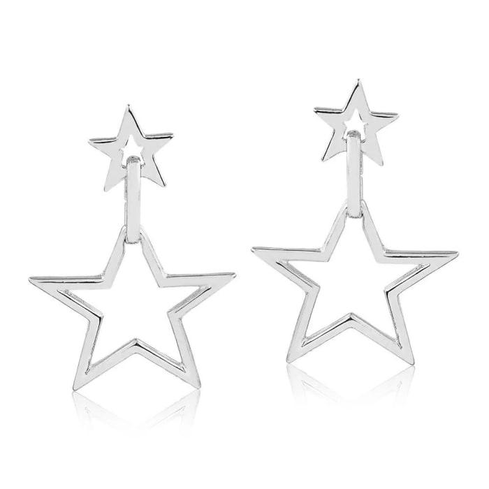 Brinco com Duas Estrelas Vazadas em Prata 950 (0)