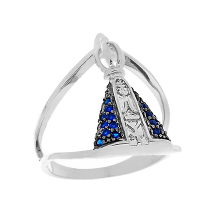 Anel Nossa Senhora com Pedras Azul em Prata 925  (0)